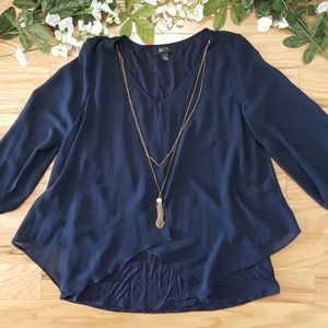 BCX Navy Blue Layered Blouse w/ Necklace